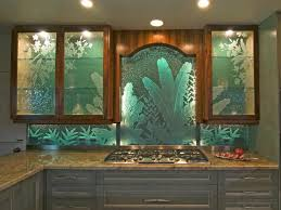 Kitchen Glass Backsplash Ideas by Kitchen Glass Art Green Kitchen Backsplash Shiny Kitchen