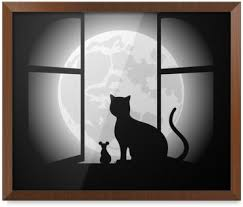 valentines day cats in sitting on moon wall mural