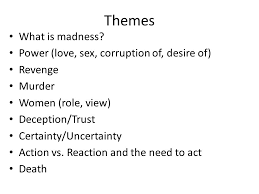 hamlet themes love hamlet man with a plan or just a mad man themes what is madness
