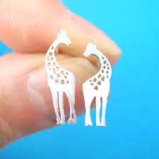 giraffe mother and baby silhouette shaped stud earrings in silver