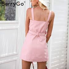 aliexpress com buy berrygo v neck pu leather dress women pink