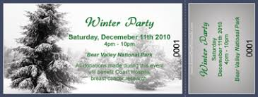 winter color ticket with text custom pricing