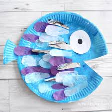paper plate rainbow fish craft arty crafty kids