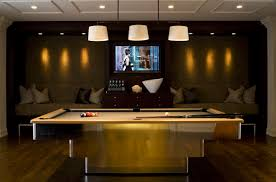 Billiard Room Decor Basement Game Room With Billiard Lights Over Pool Table