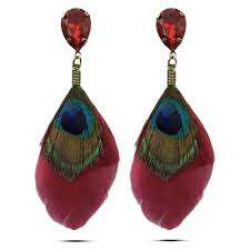 earrings image buy alizarin crimson peacock quill earring 80 online youbella