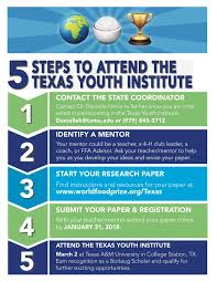 Tamu Resume Template Texas Youth Institute The World Food Prize Improving The