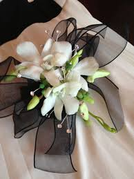 white orchid corsage white orchid and black ribbon wristlet boutonnieres and corsages