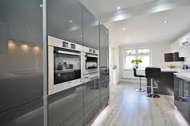 light grey acrylic kitchen cabinets modern white and grey acrylic kitchen design with eye level