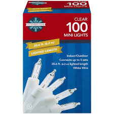 december home mini light set clear color with white wire 100 ct