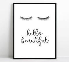 Powder Room Makeup Eyelashes Print Eyelash Printable Art Hello Beautiful Wall Art
