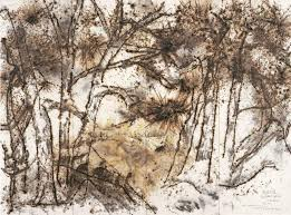 pine forest and wolf drawing experiment for deutsche guggenheim