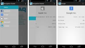 tutorial android menu bar android sliding menu navigation like facebook app vizteck