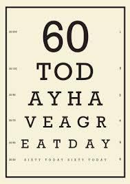 60 Birthday Cards Eye Chart 60th Birthday 60th Birthday Card Scribbler Cards
