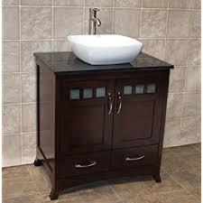 Solid Wood  Bathroom Vanity Cabinet Glass Vessel Sink Faucet MO - Bathroom vanity for vessel sink