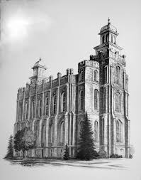Lds Home Decor by Print Architectural Logan Temple Pencil Drawing 35 00 Via