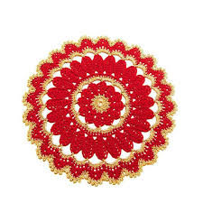 Gold Christmas Centerpieces - large red and gold christmas doily crochet only italian items