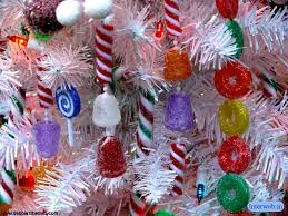 candy theme variety of hard candy strung to tree branches