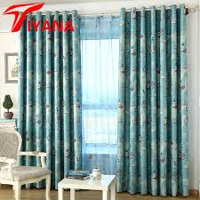 Lighthouse Window Curtains World With Ship Lighthouse Pattern Blue