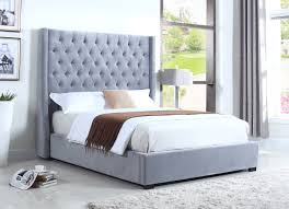 light grey upholstered bed 385 furniture import export inc