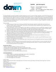 Mental Health Counselor Job Description Resume by News Dawn