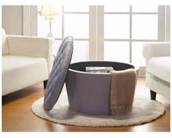 storage ottoman round tufted nail heads gray furniture footstool