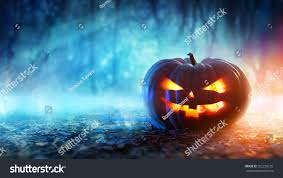 mystical halloween background halloween pumpkin mystic forest night stock photo 322226735