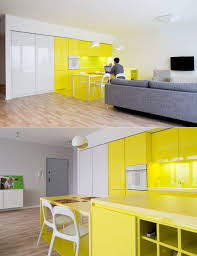 Yellow Kitchens With White Cabinets - neon yellow kitchen in open layout home pale walls with white