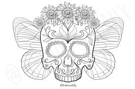 Iraq Flag Coloring Page Skull Flower Crown With Butterfly Wings Coloring Page