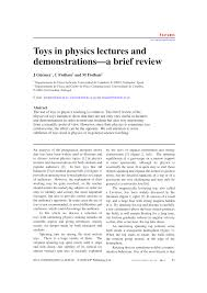 Physics Reference Table by Toys In Physics Lectures And Demonstrations A Brief Review