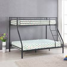 black ikayaa modern single over double metal bunk bed frame with