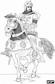 knight armor helmet riding horse coloring
