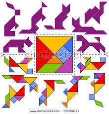 tangram puzzle vector tangram puzzle animals collection geometric stock vector