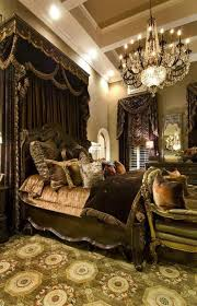 victorian bedroom ideas with chandelier and black canopy and