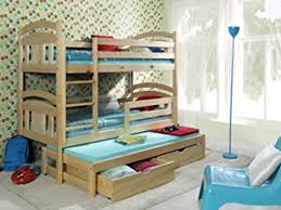 BUNK BEDS TOMMY FT WOODEN CHILDREN TRIPLE BUNK BEDS WITH - Triple bunk beds with mattress