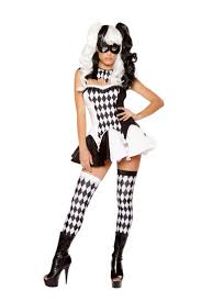 Joker Halloween Costume For Females Roma Black White Devious Jester Joker Clown Circus Batman