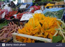 Flowers For Sale Corgette Or Zucchini Flowers For Sale At An Italian Market Stock