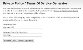webapp privacy policy terms of service generator the