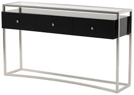modern console table design with glass top and stainless steel