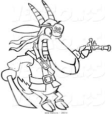 vector of a cartoon pirate goat holding a sword and pistol