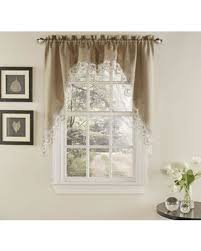 Curtain Pair Deals On Palais Kitchen Window Curtain Swag Pair In Mocha