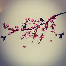 cherry blossom black bird tree branch wall decal