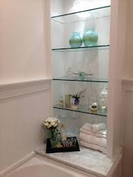 glass wall shelves bathroom