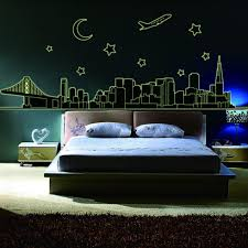 popular moon decorative buy cheap moon decorative lots from china england style mondren city night plane stars moon decoration luminous wall stickers for living bedroom decals