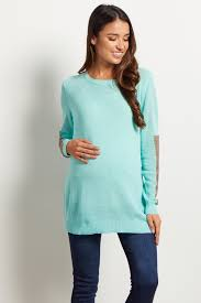 mint green sequin accent sleeve knit maternity sweater