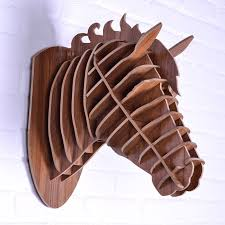 wooden animal wall nodic carved wooden home decoration simple fashion