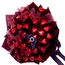 flowers and chocolate edible blooms bouquet of 36 heart chocolates for gold coast