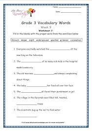 grade 3 vocabulary worksheets week 9 lets share knowledge