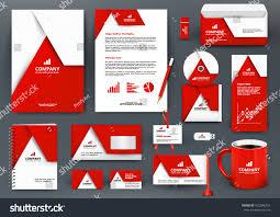 professional universal red branding design kit stock vector