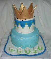 baby shower cake for boy with edible golden crown baby blocks