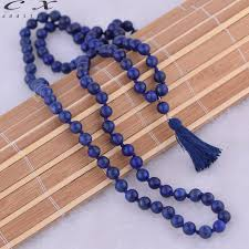 beaded necklace with tassel images Exclusive deep blue bead 6mm natural stone long tassel necklace jpg